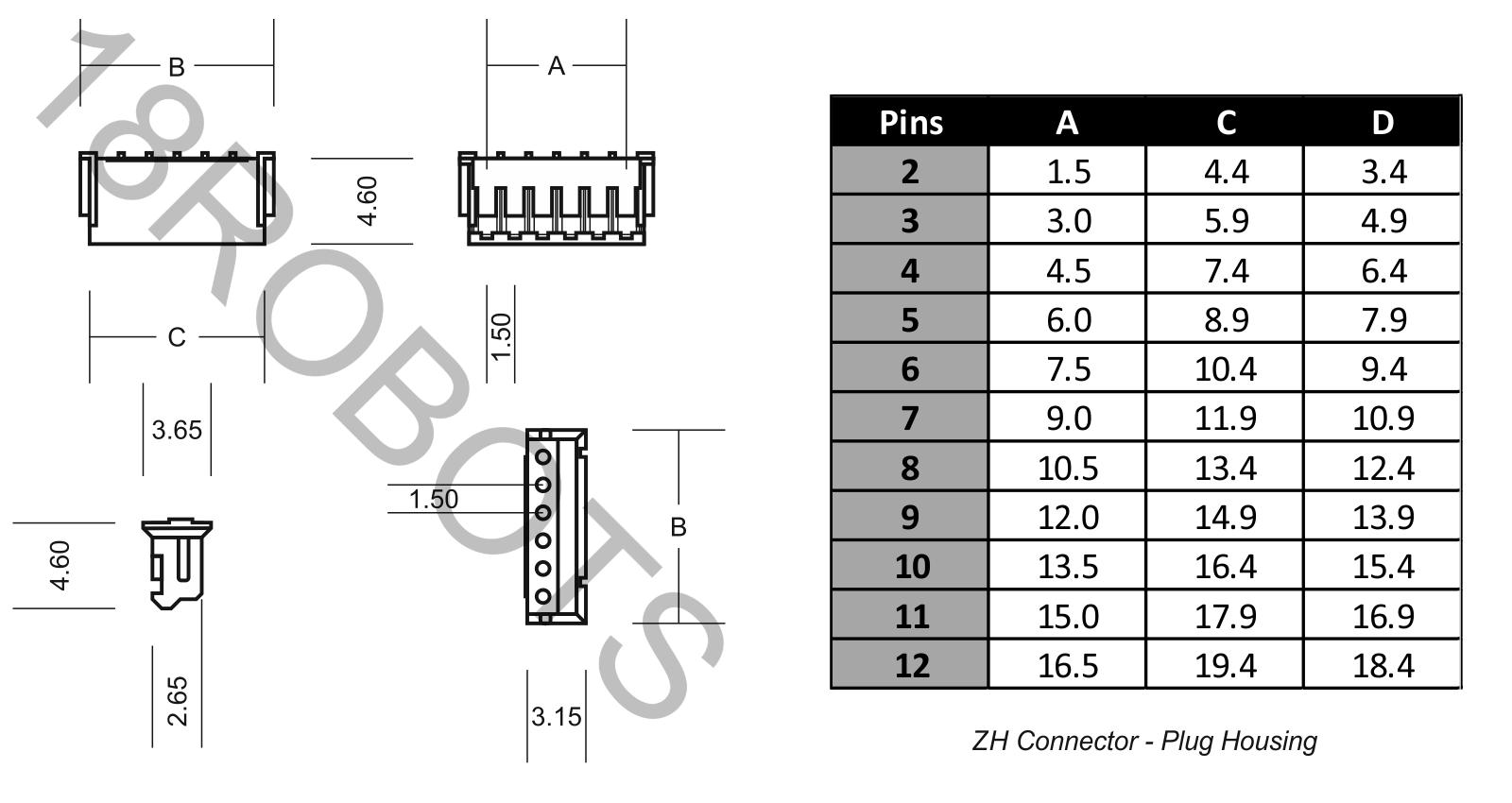 2-12 pin JST ZH stile ZH 1,5 mm Connettore A Spina Alloggiamento /& Crimps